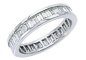 WOMENS DIAMOND ETERNITY BAND WEDDING RING BAGUETTE CUT 2.5 CARATS 14K WHITE GOLD