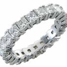 WOMENS DIAMOND RING ETERNITY BAND 4 CARAT PRINCESS SQUARE CUT PRONG WHITE GOLD