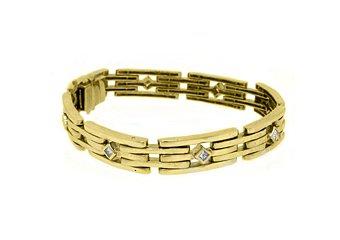 Mens Diamond Link Bracelet 1.12 Carat Princess Square Cut Bezel 14KT Yellow Gold