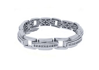Mens Diamond Link Bracelet 4.78 Carat Brilliant Round Cut Channel Set White Gold