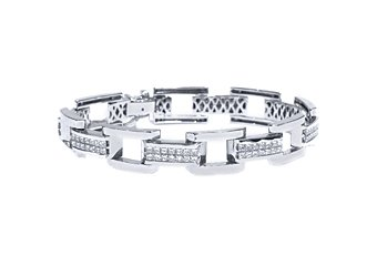 Mens Diamond Link Bracelet 8 Carat Invisible Princess Square Cut 18K White Gold