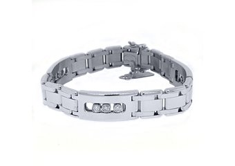 Mens Diamond Link Slider Bracelet 1.15 Carat Brilliant Round Cut 14K White Gold