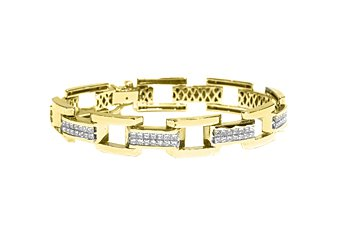 Mens Diamond Link Bracelet 8 Carat Invisible Princess Square Cut 18K Yellow Gold