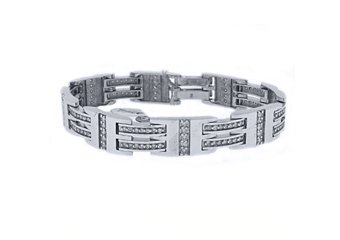 Mens Diamond Link Bracelet 3.43 Carats Brilliant Round Cut Prong 14K White Gold