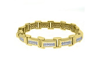 Mens Diamond Link Bracelet 7 Carat Invisible Princess Square Cut 18K Yellow Gold