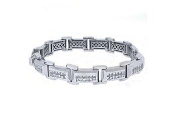 Mens Diamond Link Bracelet 7 Carat Invisible Princess Square Cut 18K White Gold
