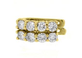 WOMENS 1.38 CARAT BRILLIANT ROUND DIAMOND HOOP EARRINGS YELLOW GOLD