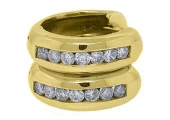 WOMENS .89 CARAT ROUND CUT DIAMOND HOOP EARRINGS 14KT YELLOW GOLD