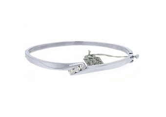 WOMENS 3-STONE DIAMOND BANGLE TENNIS BRACELET 2/5 CARAT ROUND CUT 14K WHITE GOLD