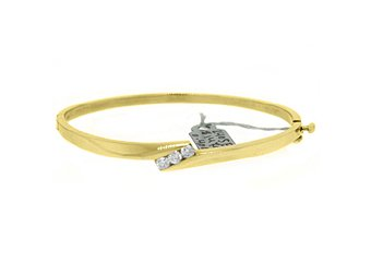 WOMENS 3-STONE DIAMOND BANGLE TENNIS BRACELET 2/5 CARAT ROUND CUT YELLOW GOLD