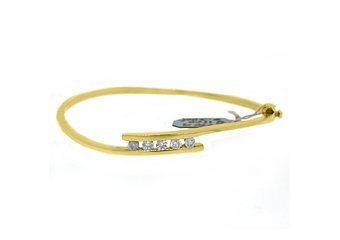 "WOMENS DIAMOND BANGLE TENNIS BRACELET .58 CARAT ROUND CUT 14KT YELLOW GOLD 7"""