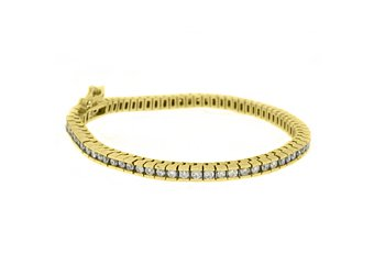 WOMENS DIAMOND TENNIS LINK BRACELET 3.88 CARAT ROUND CUT BOX 14KT YELLOW GOLD 7""