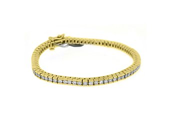 "WOMENS DIAMOND TENNIS LINK BRACELET 3.28 CARAT ROUND CUT BOX 14KT YELLOW GOLD 7"""