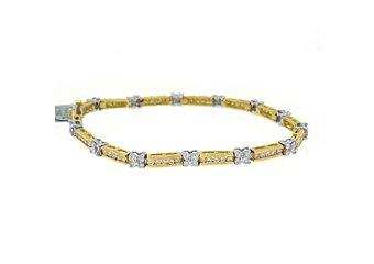 "WOMENS DIAMOND TENNIS LINK BRACELET 3.12 CARAT ROUND CUT 14K YELLOW GOLD 7"" INCH"