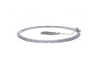 WOMENS DIAMOND BANGLE TENNIS BRACELET 1.38 CARAT ROUND CUT 14KT WHITE GOLD