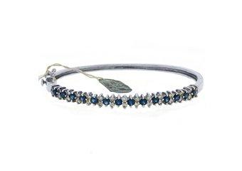 WOMENS BLUE SAPPHIRE DIAMOND BANGLE TENNIS BRACELET 2.6 CARAT ROUND WHITE GOLD