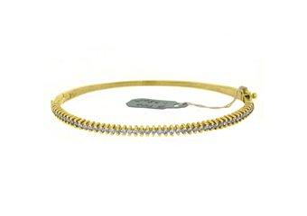 WOMENS DIAMOND BANGLE TENNIS BRACELET 1.38 CARAT ROUND CUT 14KT YELLOW GOLD