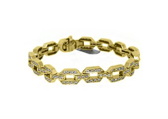 WOMENS DIAMOND TENNIS LINK BRACELET 2.68 CARAT ROUND CUT PAVE 14K YELLOW GOLD 7""