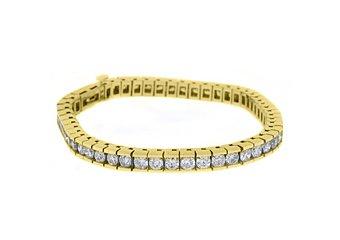 "WOMENS DIAMOND BOX TENNIS BRACELET 7.68 CARAT ROUND CUT 14KT YELLOW GOLD 7"" INCH"