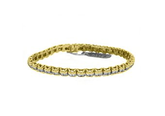 "WOMENS DIAMOND TENNIS LINK BRACELET 3.18 CARAT ROUND CUT 14K YELLOW GOLD 7"" INCH"