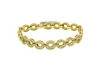 WOMENS DIAMOND TENNIS LINK BRACELET 1.38 CARAT ROUND CUT PAVE 14KT YELLOW GOLD