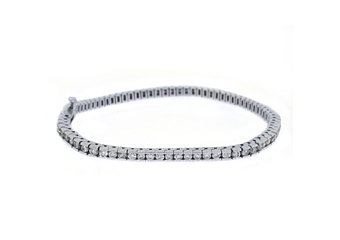 WOMENS DIAMOND TENNIS LINK BRACELET 2.63 CARAT ROUND CUT BOX 14KT WHITE GOLD