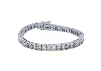 "LADIES DIAMOND BOX TENNIS BRACELET 9 CARAT ROUND CUT 14KT WHITE GOLD 7"" INCH"