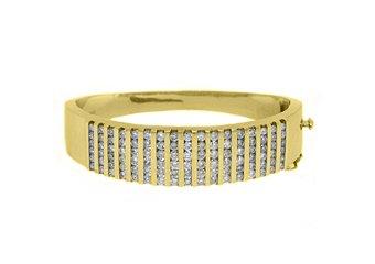 WOMENS DIAMOND BANGLE TENNIS BRACELET 5.68 CARAT ROUND CUT 14KT YELLOW GOLD