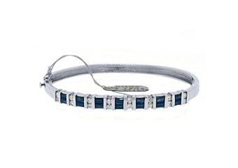 WOMENS BLUE SAPPHIRE DIAMOND BANGLE TENNIS BRACELET 3.8 CARAT BAGUETTE ROUND CUT