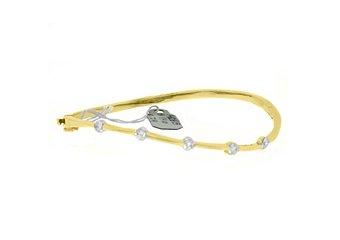 "WOMENS DIAMOND BANGLE TENNIS BRACELET 3/4 CARAT ROUND CUT 14KT YELLOW GOLD 7"""