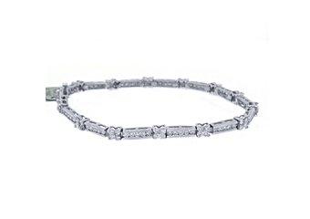 "WOMENS DIAMOND TENNIS LINK BRACELET 3.12 CARAT ROUND CUT 14KT WHITE GOLD 7"" INCH"