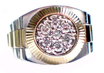 MENS .70CT BRILLIANT ROUND CUT SHAPE DIAMOND RING 14K YELLOW WHITE TWO TONE GOLD