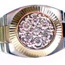 MENS .70CT BRILLIANT ROUND CUT SHAPE DIAMOND RING 14K YELLOW WHITE TWO TONE GOLD