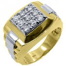 MENS .70CT BRILLIANT ROUND CUT SQUARE SHAPE DIAMOND RING 14KT YELLOW WHITE GOLD