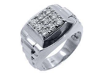 MENS .70CT BRILLIANT ROUND CUT SQUARE SHAPE DIAMOND RING 14KT WHITE GOLD