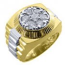 MENS 1.25CT BRILLIANT ROUND CUT SHAPE DIAMOND RING YELLOW WHITE TWO TONE GOLD
