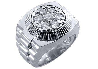 MENS 1.5 CARAT BRILLIANT ROUND CUT SHAPE DIAMOND RING 14K WHITE GOLD