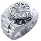 MENS 1.5 CARAT BRILLIANT ROUND CUT SHAPE DIAMOND RING 14K WHITE GOLD