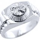 MENS SOLITAIRE DIAMOND RING .05CT BRILLIANT ROUND CUT SHAPE 14KT WHITE GOLD