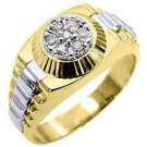 MENS .45CT BRILLIANT ROUND CUT SHAPE DIAMOND RING 14K TWO-TONE YELLOW GOLD