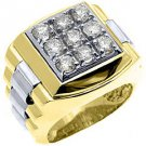 MENS 1.75 CARAT BRILLIANT ROUND CUT SQUARE SHAPE DIAMOND RING YELLOW WHITE GOLD