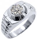MENS .45CT BRILLIANT ROUND CUT SHAPE DIAMOND RING 14KT WHITE GOLD