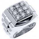 MENS 1.75 CARAT BRILLIANT ROUND CUT SQUARE SHAPE DIAMOND RING 14KT WHITE GOLD