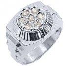 MENS .70CT BRILLIANT ROUND CUT SHAPE DIAMOND RING 14KT WHITE GOLD