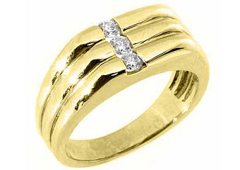 MENS 1/3 CARAT BRILLIANT ROUND CUT DIAMOND RING WEDDING BAND 14KT YELLOW GOLD