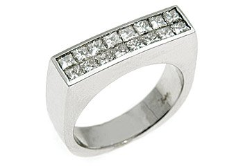 MENS 1.5 CARAT DIAMOND PINKY RING PRINCESS SQUARE CUT INVISIBLE 18KT WHITE GOLD