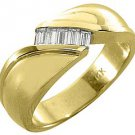 MENS 2/5 CARAT BAGUETTE CUT DIAMOND RING WEDDING BAND 14KT YELLOW GOLD