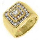 MENS 3 CARAT DIAMOND RING BRILLIANT ROUND CUT 14KT YELLOW GOLD