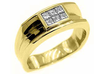 MENS 1/2 CARAT PRINCESS SQUARE CUT DIAMOND RING WEDDING BAND 14KT YELLOW GOLD