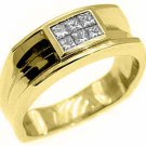 MENS 1/2 CARAT PRINCESS SQUARE CUT DIAMOND RING WEDDING BAND 14KT YELLOW GOLD